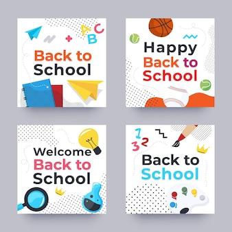 Conjunto de publicaciones de instagram de regreso a la escuela
