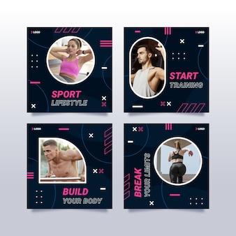 Conjunto de publicaciones de instagram de salud y fitness planas