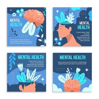 Conjunto de publicaciones de instagram de salud mental plana