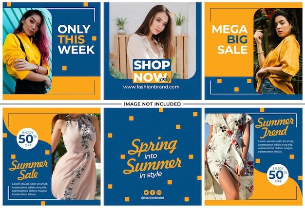 Conjunto de publicaciones de instagram de tienda de moda femenina