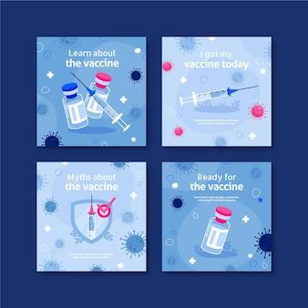 Conjunto de publicaciones de instagram de vacuna de diseño plano