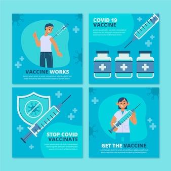 Conjunto de publicaciones de instagram de vacuna plana