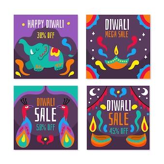 Conjunto de publicaciones de instagram de venta de celebración de diwali