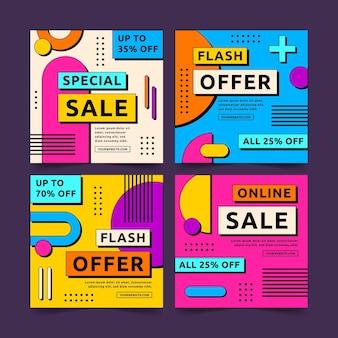 Conjunto de publicaciones de instagram de venta colorida de diseño plano