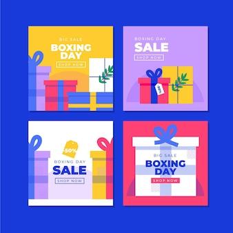 Conjunto de publicaciones de instagram de venta de eventos de boxing day