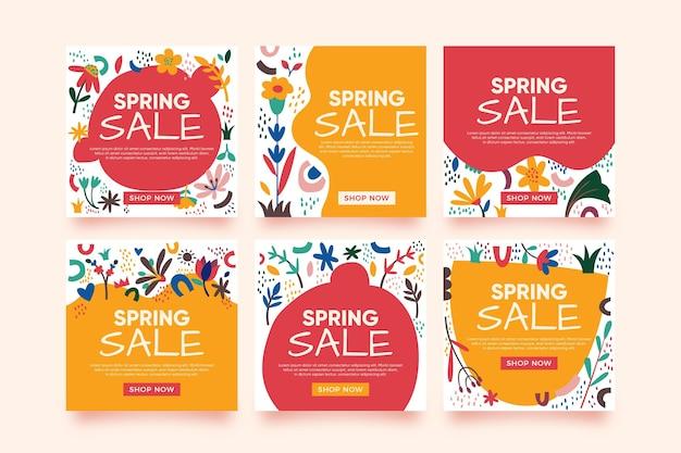 Conjunto de publicaciones de instagram de venta de primavera plana