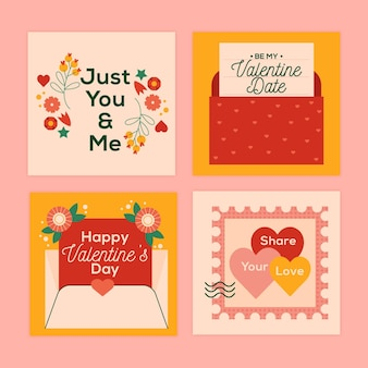 Conjunto de publicaciones de instagram de venta de san valentín