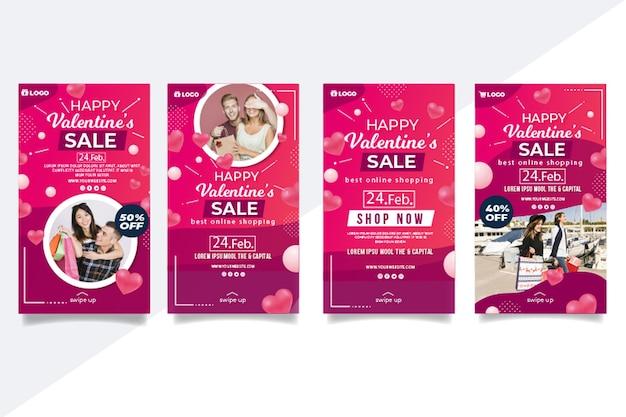 Conjunto de publicaciones de instagram de ventas de san valentín