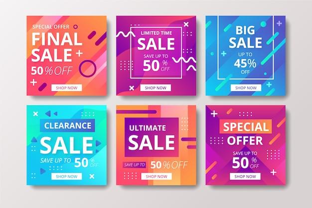 Conjunto de publicaciones de instagram de ventas