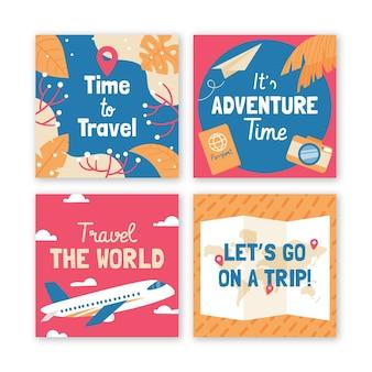 Conjunto de publicaciones de instagram de viajes dibujados a mano