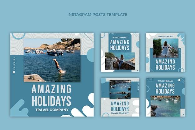Conjunto de publicaciones de instagram de viajes de diseño plano