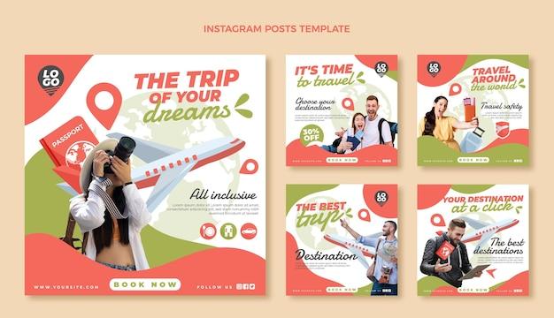 Conjunto de publicaciones de instagram de viajes planos