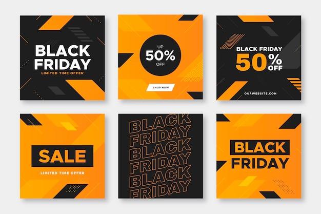 Conjunto de publicaciones de instagram de viernes negro de diseño plano