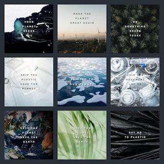 Conjunto de publicaciones de plantilla de redes sociales de vector de cotización de medio ambiente