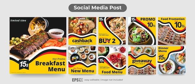 Conjunto de publicaciones en redes sociales para alimentos
