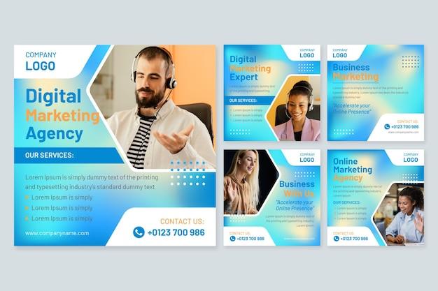 Conjunto de publicaciones de redes sociales de marketing digital.