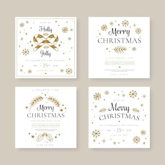 Conjunto de publicaciones de redes sociales navideñas festivas