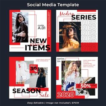 Conjunto de publicaciones en redes sociales para promoción de moda.