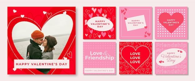 Conjunto de publicaciones de redes sociales de san valentín.