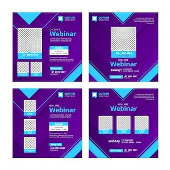 Conjunto de publicaciones en redes sociales de seminarios web