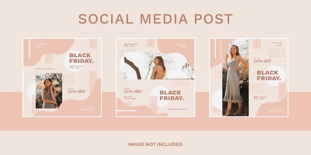 Conjunto de publicaciones de redes sociales de venta de viernes negro