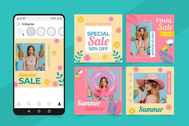 Conjunto de publicaciones de redes sociales de ventas de verano.