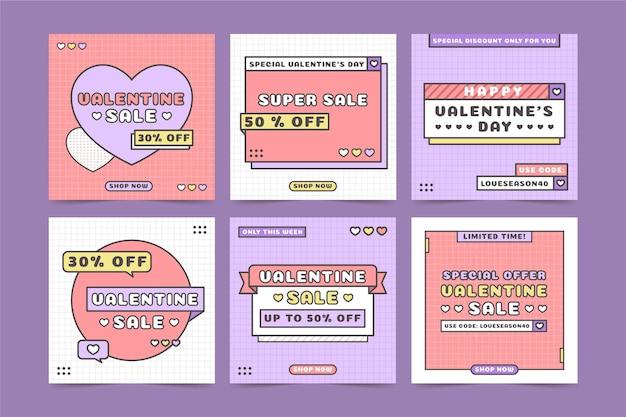 Conjunto de publicaciones de san valentín