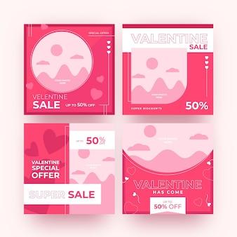 Conjunto de publicaciones de venta de día de san valentín moderno