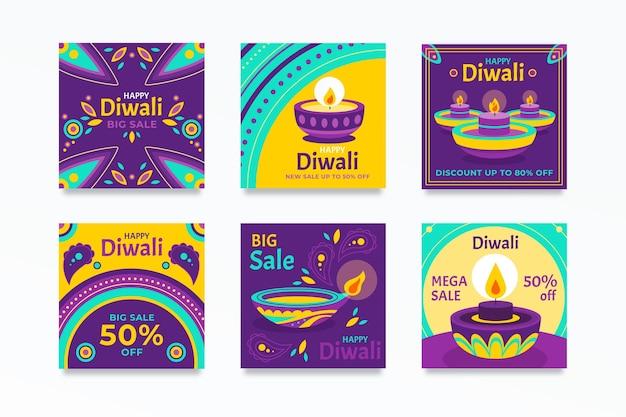 Conjunto de publicaciones de venta de instagram de diwali
