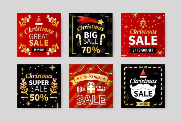 Conjunto de publicaciones de venta navideña de instagram