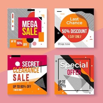 Conjunto de publicaciones de ventas de instagram