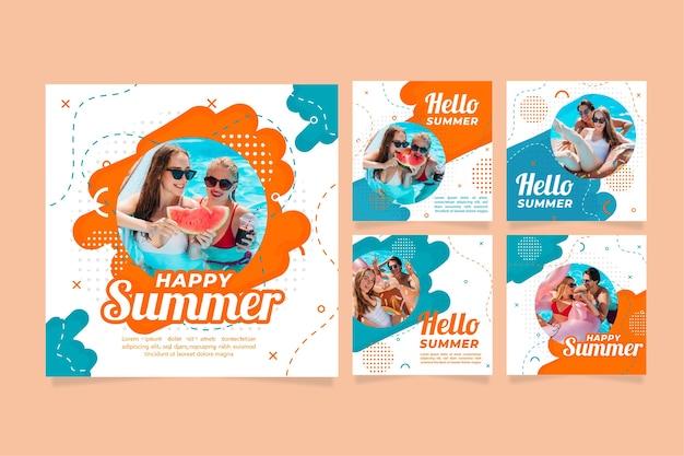 Conjunto de publicaciones de verano instagram