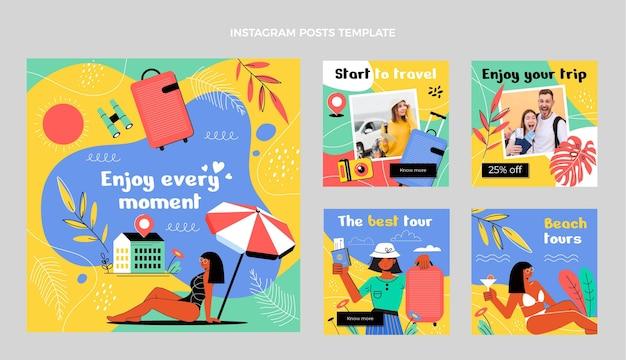 Conjunto de publicaciones de viajes ig de diseño plano