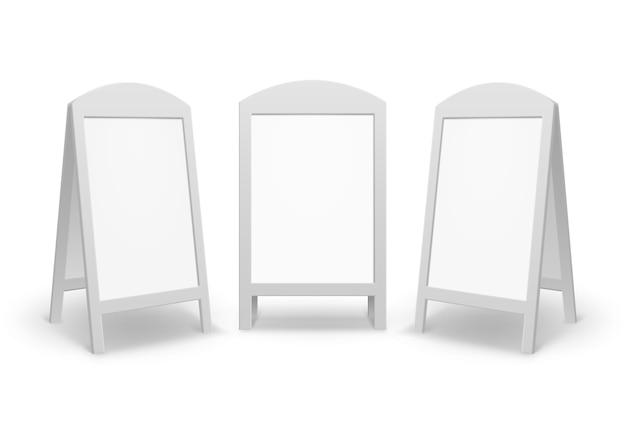 Conjunto de publicidad en blanco vacía ovalada redonda