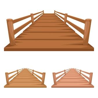 Conjunto de puente de madera aislado en blanco