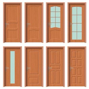 Conjunto puerta madera, apartamento interior.
