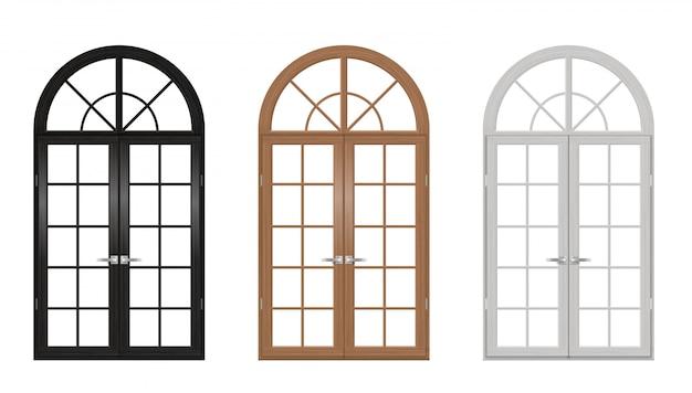 Conjunto de puertas arqueadas vintage de madera