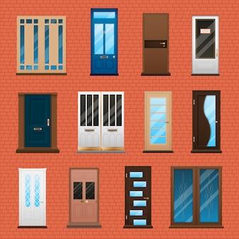 Conjunto de puertas de casa