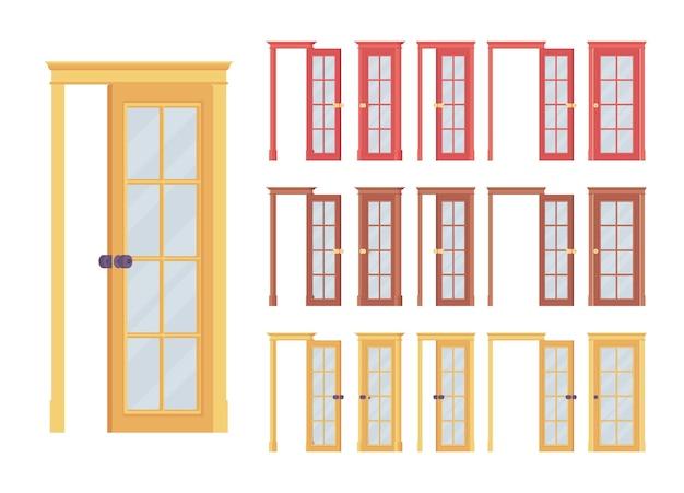 Conjunto de puertas clásicas con panel de vidrio.