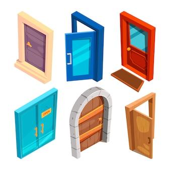 Conjunto de puertas de dibujos animados