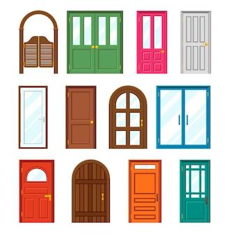 Conjunto de puertas de edificios delanteros en estilo plano.