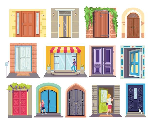 Conjunto de puertas de entrada de diseños de dibujos animados.