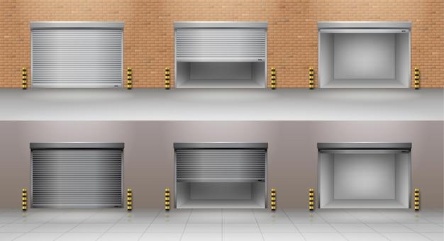 Conjunto de puertas de garaje enrollables.