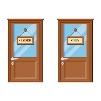 Conjunto de puertas de madera con vidrio, manija de puerta, letreros comerciales abiertos y cerrados.