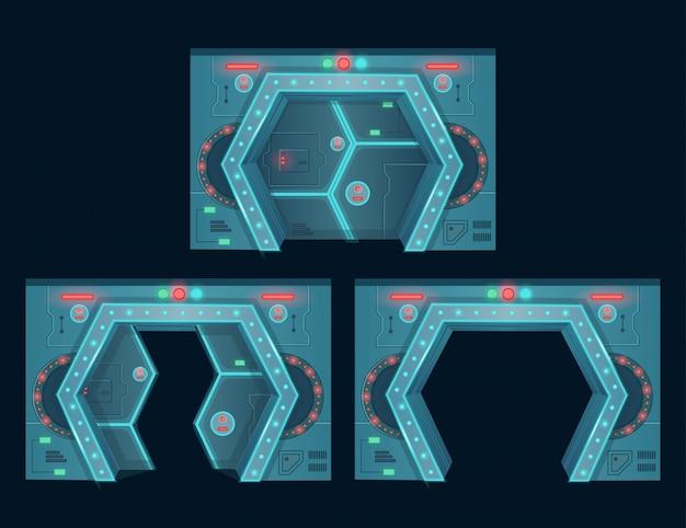 Conjunto de puertas de la nave espacial ilustración de vector de dibujos animados.