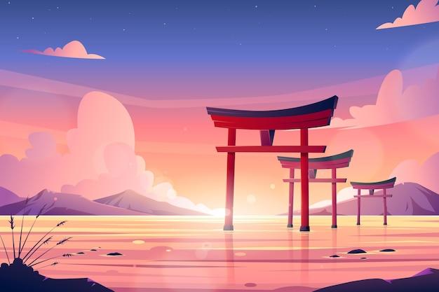 Conjunto de puertas torii en el agua. vector gratuito