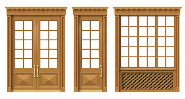 Conjunto de puertas y ventanas clásicas de madera.