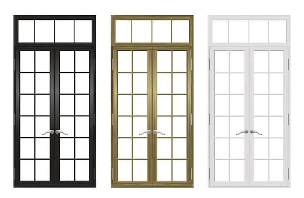 Conjunto de puertas y ventanas de madera clásicas.