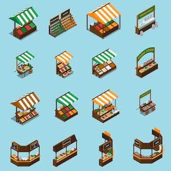 Conjunto de puesto de mercado agrícola