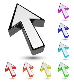 Conjunto de puntero de cursor de flecha 3d multicolor aislado en blanco